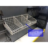Wire Basket - with integrated 3 Lug Bracket : 900 MM (W) x 450 MM (D) - 2 Dividers per Basket -WHITE